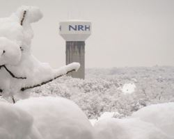 NRH water tower covered in snow