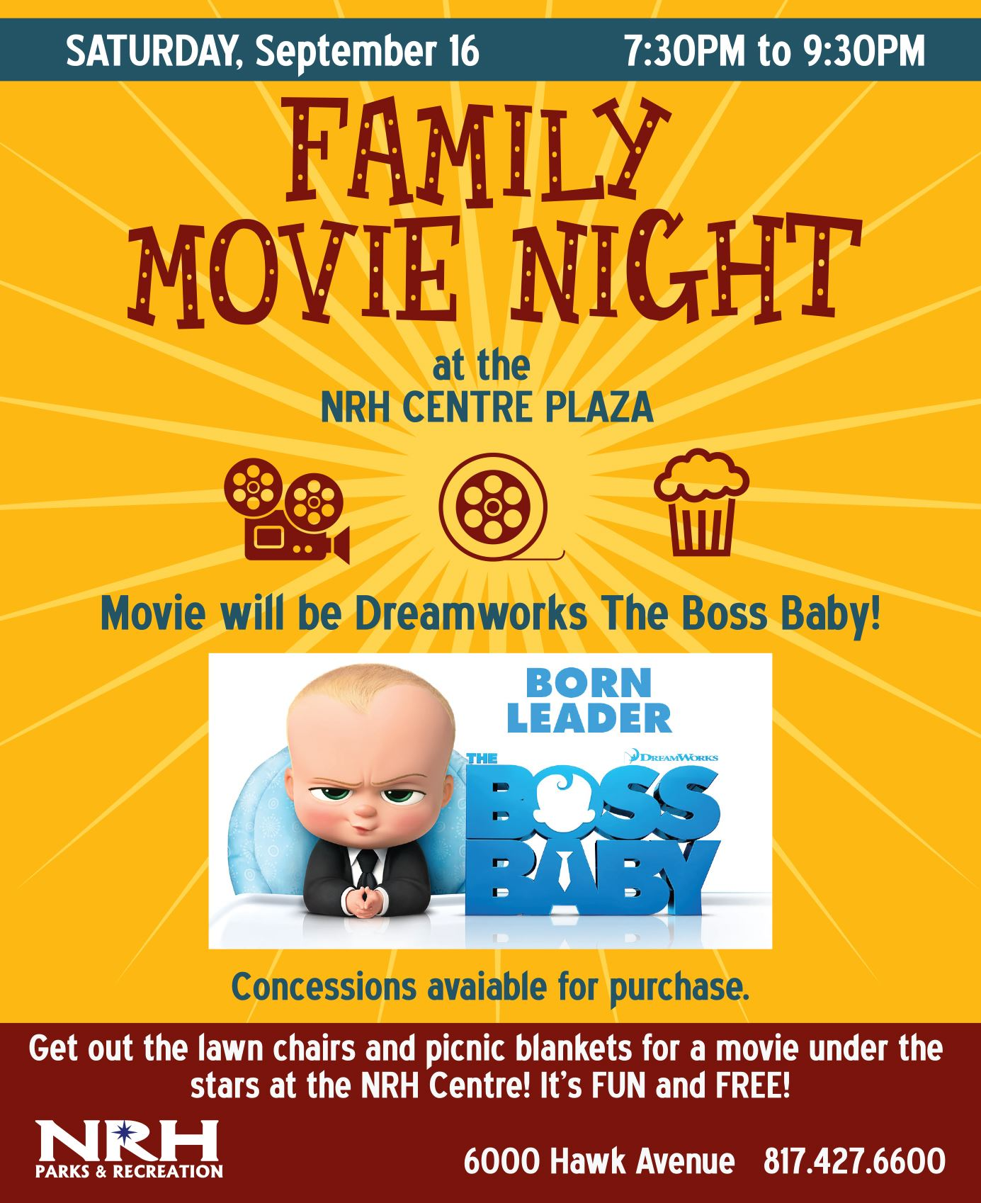 Family Movie Night Ad Sept 2017
