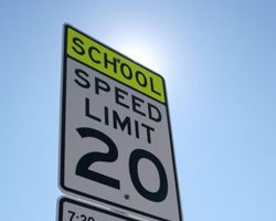 School zone speed limit sign