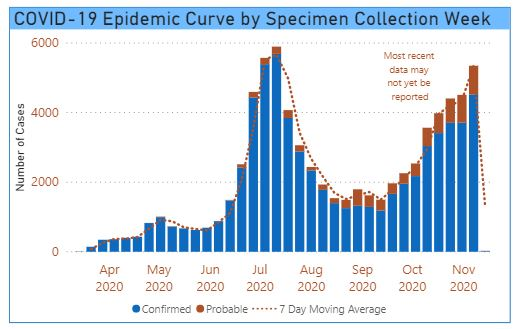 Tarrant County Epidemic Curve by Week